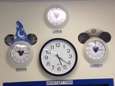 Mickey Mouse clocks we customized. Bought clock base for $1.99 at IKEA and replaced the faces with ones I made.