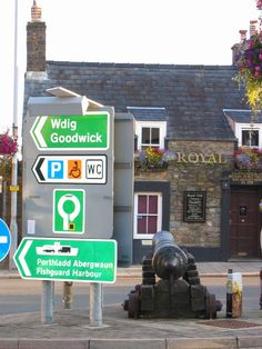 Welsh street signs in Fishguard, Wales