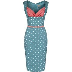 'Vanessa' Pastel Green Polka Dot Wiggle Dress (€44) ❤ liked on Polyvore featuring dresses, green, ruched cocktail dress, blue cocktail dress, surplice dress, blue dress and ruched dress