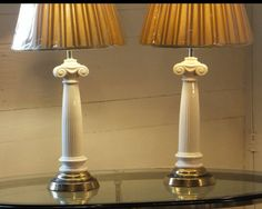 Pair Ceramic Column Lamps Vintage Hollywood Regency by imodern, $250.00