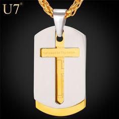 U7 Библия Крест Кулон С Цепочкой Из Нержавеющей Стали Позолоченный Мужской Ювелирное Украшение Господня молитва P682