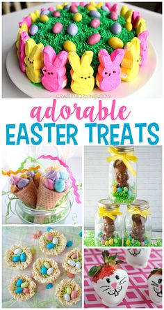 Adorable easter treat ideas for kids! Find strawberries, rice krispies, peep cakes, and more!
