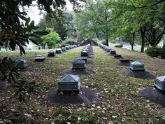 Above the catacombs are the skylight ventilators. Green-Wood Cemetery, Brooklyn, New York