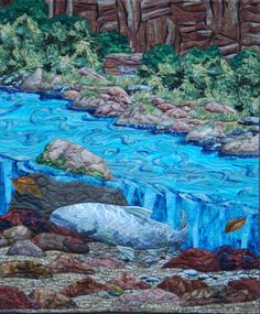 """This is another quilt I made for the Quilt for Two Rivers Project, called """"Going Home""""  Steelhead are finally making it back home up Whychus Creek."""