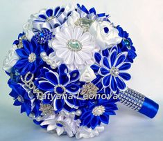 Wedding Bouquet Royal by LIKKO Fabric Bouquet, Ribbon Bouquet, Bridal Bouquet Pink, Wedding Brooch Bouquets, Bride Bouquets, Blue Wedding Decorations, Blue Wedding Centerpieces, Prom Flowers, Bridal Flowers