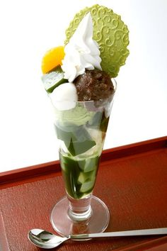 Uji Matcha Parfait, Made with Jelly, Soft Ice Cream, Matcha (Japanese Green Tea) Syrup and only the Finest Uji Matcha, with a topping including Sweet Red Beans - a Truly Japanese Flavour. It is the most popular item at Kyoto ItohKyuemon|伊藤久右衛門の抹茶パフェ