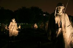 Korean War Memorial. Did you know? Those are faces of real soldiers on those statues. creepy esp at night.