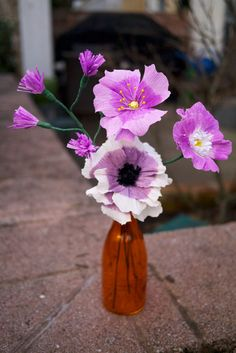handmade, hand-painted flowers- lavender by Petaling Paper Painted Flowers, Chinoiserie, Paper Flowers, All Things, Lavender, Hand Painted, Vase, Plants, Pictures