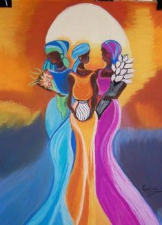 Beauty artwork of Yemaya, Oshum and Oya African Drawings, African Art Paintings, South African Art, African American Art, Black Women Art, Black Art, Cafe Posters, Sun Painting, Colored Pencil Artwork
