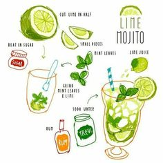 Lime Mojito — Korean Hand-Painted Recipes : I Bet You'll Love It Cocktail Recipes, Cocktails, Recipe Drawing, Food Doodles, Food Sketch, Lime Soda, Gin Tonic, Snacks Saludables, Food Painting