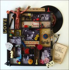 One-of-a-Kind Wall Art Contest finalists! Page 3 – Archiver's Online Altered Boxes, Altered Art, Mixed Media Boxes, Memory Frame, Diy Shadow Box, Found Object Art, Assemblage Art, Game Pieces, Diy Arts And Crafts