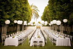Chic all white Palm Spring wedding reception: http://www.stylemepretty.com/california-weddings/palm-springs/2016/08/06/this-palm-springs-affair-is-the-definition-of-chic/ Photography: Michael Segal - http://www.michaelsegalphoto.com/