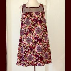 """🎉SALE! 🌺60's Mod Shift A modern take on one of fashion's coolest eras, this easy-on staple dress has a flattering A-line cut, mesh yoke & pretty peekaboo back. Pink/red/lavender/gray/yellow flower print= perfect for spring🌺. 31"""" length. Dresses"""