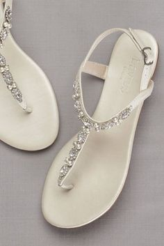 adf3b5230d8bf2 Pearls and crystals lend romantic detail to these versatile sandals. By  David  s. Wedding Sandals For BrideWedding Dress ...