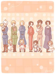 Some of the older nations with their brothers/sons/wards/whatever-you-want-to-call-them. :P From left to right: Gilbert with Ludwig, Arthur with Alfred, Francis with Matthew (or should it be Matthieu?), Yao with Kiku, Antonio with Lovino, and Roderich with Feliciano.