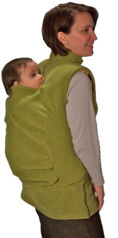 Sure, it may look a little crazy, but this carrier cover keeps baby AND mom warm, and works with both front carriers and back carriers.  Think of it as a two-headed fleece vest. #babygear