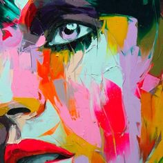 Amazing oil paint. how did they get the shapes of the face with such blocky colors anyway?? So cool.