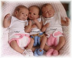 Triplets...2 Reborn baby girls & 1 boy... Chloe,Christopher & Crystal..Jasper,Ruby & Crystel kits by Jade Warner...Approx weight 2 lbs & 4 oz's...15 inches...painted hair..Created by me...2012...