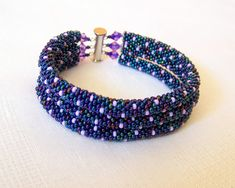 SALE - Beadwork - 3 Strand Bead Crochet Rope Bracelet in irridescent blue and lilac - beaded bracelet - beaded jewelry on Etsy, $36.28