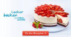 Leckere Erdbeeren, Frischkäse und cremige Milch-Schnitte®. Cheesecake einfach und schnell zubereitet - ganz ohne Backen. Jetzt Rezept entdecken!