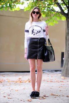 Graphic tee + leather skirt
