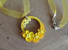 Quilling paper filigree pendant Flowers by MayasPaperFantasy Paper Quilling Earrings, Paper Quilling Patterns, Quilled Paper Art, Quilling Craft, Paper Jewelry, Paper Beads, Origami, Quilled Creations, Quilling Techniques