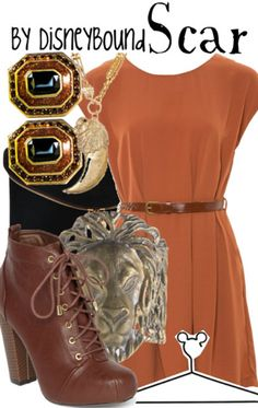 Scar from the lion king Disney Bound - black mattes, leopard tunic, lion necklace, brown boots Disney Themed Outfits, Character Inspired Outfits, Disney Bound Outfits, Disney Dresses, Disney Clothes, Moda Disney, Disney Disney, Disney Inspired Fashion, Disney Fashion