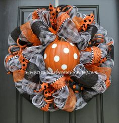 Polka Dot Pumpkin Halloween Wreath - Mesh Halloween Wreath - Fall and Halloween Wreath on Etsy, $95.00