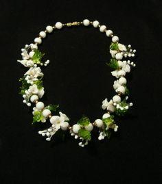 Glass Necklace, Vintage Necklace, Glass Flower, Green Leaves, Flower Necklace, Vintage Jewelry, Estate Jewelry, White Necklace, Necklace by VintageGemz on Etsy