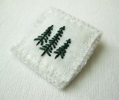 Evergreen Brooch Hand Embroidered by Sidereal on Etsy