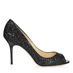 Jimmy Choo Black Coarse Glitter Peep Toe Pumps Evelyn 85mm