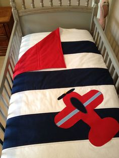 3 Piece Navy And White W/ Red Airplane Applique Nursery Set