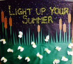 Night Time Summer activity bulletin board with fireflies