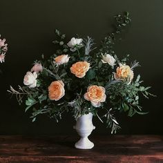 Urn Floral Arrangement with Grandiflora Unforgettable Roses - This smells amazing! Floral Wedding, Wedding Flowers, Dish Garden, Order Flowers Online, Sympathy Flowers, Vase Arrangements, Floral Foam, Flower Delivery, Urn