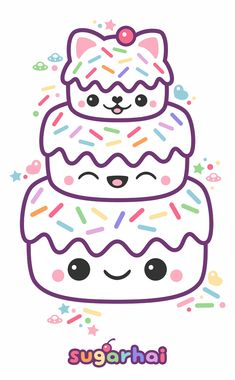 Super kawaii kitty cat cake with all the pastel rainbow sprinkles.