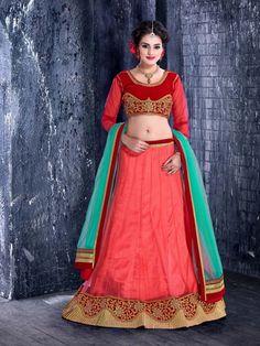 Red Net Velvet Wedding Designer Lehenga Choli