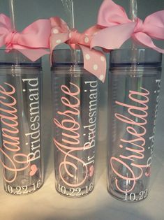 Personalized skinny Tumbler Bridesmaid Gift by madewithlovebyV
