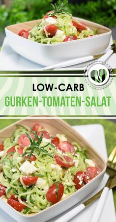 Schneller Gurken-Tomaten-Salat mit Feta The cucumber tomato salad goes fast, is low carb, gluten free and sugar free. He owns himself as a subsidy but also as a main meal. Healthy Dinner Recipes, Low Carb Recipes, Greek Recipes, Feta Salat, Couscous Salat, No Carb Diets, Pesto, Salad Recipes, Meals