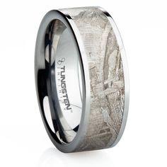 Popular  mm Titanium with Meteorite Inlay Wedding Ring