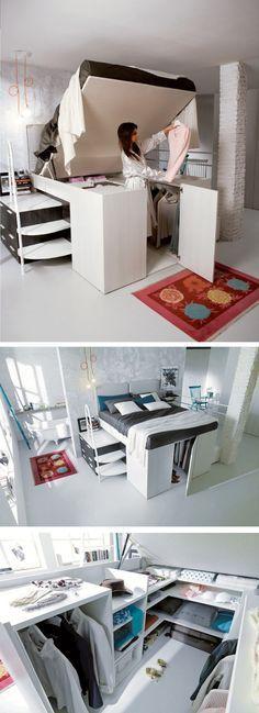 Kleiderschrank integriert in einem hochklappbaren Bett. Eine tolle Storage Lösung für kleine Wohnungen