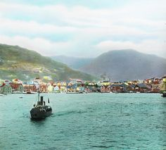 Bergen, View from Puddefjorden – Product Modern Photography, Color Photography, Bergen, St Cuthbert, Norway Fjords, Lake Signs, Norway Travel, Historical Art, His Travel