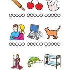 Sig ordene tydeligt (de begynder alle sammen med /k/) og markér i cirklerne, hvor mange stavelser hvert ord har....