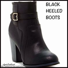 """BOOTS Tall Ankle Buckle Booties 💟NEW WITH TAGS💟  RETAIL PRICE: $90   BOOTS Tall Ankle Buckle Booties  DETAILS:   * Round toe   * Side buckle strap   * Gold-tone metallic hardware   * Side zip closure & lightly padded insole   * Stacked 3.5"""" high heels, approx 4"""" shaft & 10"""" opening   * True to size   Material: Manmade upper & rubber sole  Color: Black & gold Item#:   🚫No Trades🚫 ✅ Offers Considered*✅  *Please use the blue 'offer' button to submit an offer. Top Guy Shoes Ankle Boots…"""