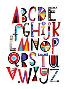 Children's Alphabet Art Print on Behance Hand Lettering Alphabet, Alphabet Art, Letter Art, Calligraphy Alphabet, Calligraphy Fonts, Script Fonts, Creative Lettering, Lettering Styles, Lettering Design