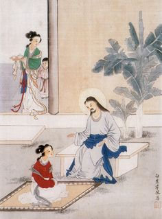 Unknown Artist. Christ in the House of Martha and Mary. Chinese. 20th century » Chinese Christian painting
