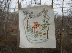 Vintage hand embroidered birth announcement by StichVintage, $15.00
