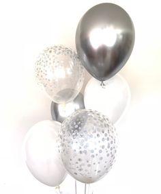 Silver and White Balloons White Balloon Bouquet Chrome Balloon Arch Diy, Balloon Backdrop, Balloon Bouquet, Photo Balloons, Gold Balloons, Confetti Balloons, Gold Birthday, Birthday Balloons, Forty Birthday