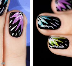 New Year Nails ~ using 5 holographic polishes, tape and black polish (link to animated tutorial) ~ by Pshiiit