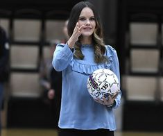 "21 October 2016 - Princess Sofia in Värmland: visit to ""Fritidsbanken"", a library for sports equipmen at the Fröding Arena in Karlstad - blouse by Mayla"
