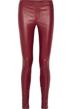 Helmut Lang - Stretch-leather Leggings - Burgundy - US8